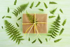 Gift box wrapped of craft paper and white and yellow ribbon on a green wooden background decorated of fern leaves. Gift box wrapped of craft paper and white and Royalty Free Stock Photos