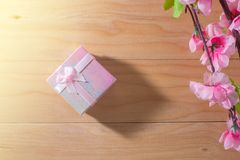 Gift box wrapped and plum blossom Christmas and Newyear presents with bows and ribbons, Christmas frame boxing day background. Gift box wrapped and plum blossom Royalty Free Stock Image