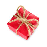 Gift box wrapped in red paper Royalty Free Stock Image
