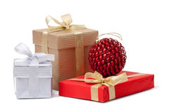 Gift box and xmas ball Royalty Free Stock Images