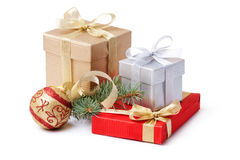 Gift box and xmas ball stock photos