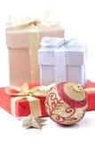 Gift box and xmas ball Royalty Free Stock Photography