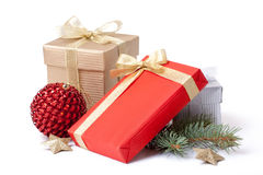 Gift box and xmas ball Royalty Free Stock Photography