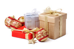 Gift box and xmas ball Stock Image