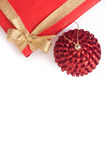 Gift box and xmas ball Royalty Free Stock Image