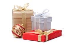 Gift box and xmas ball stock images