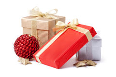 Gift box and xmas ball Stock Photography