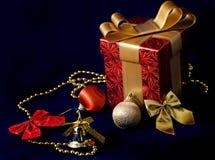 Gift box and Xmas decoration Stock Photos