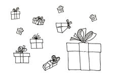 Gift box for xmas designs. Set of nine illustrations Stock Photography