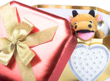 Gift box and yellow bull Stock Photography