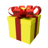 Gift Box Yellow with Red Ribbon Royalty Free Stock Photos