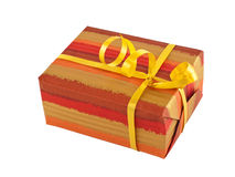 Gift box with a yellow ribbon Royalty Free Stock Photo