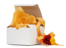 Gift Box with Yellow Ribbon Stock Photo