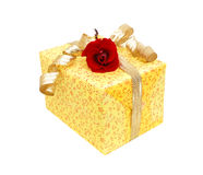 Gift box with yellow ribbon bow Royalty Free Stock Image