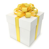 Gift Box with Yellow Ribbon and Bow. A blank gift box with ribbon and bow  on white background. Computer generated image with clipping path Royalty Free Stock Image