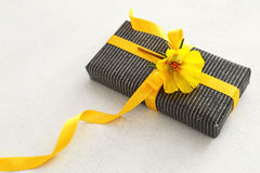 Gift box with yellow ribbon and flower Stock Photography