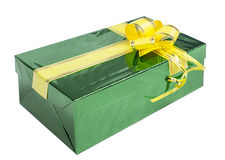 Gift box with yellow ribbon Royalty Free Stock Photo
