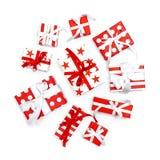 Gift boxe Holidays decoration flat lay. Gift boxes on white background. Holidays decoration flat lay royalty free stock image