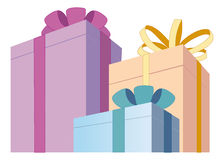 Gift boxes. Three coloured boxes with gifts Royalty Free Stock Image