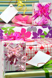 Gift boxes. Holiday gift boxes background with colorful decorative bows Royalty Free Stock Photography
