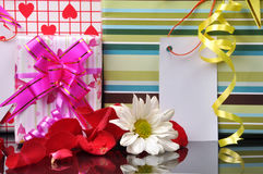 Gift boxes. Holiday gift boxes background with colorful decorative bows and ribbons Stock Images