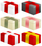Gift boxes. Set of six colorful gift boxes Royalty Free Stock Photography