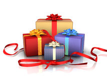 Gift boxes. A set of four gift boxes with red ribbons stock illustration