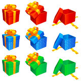Gift boxes. Set of 9 colored gift boxes, isolated on white background Royalty Free Stock Images