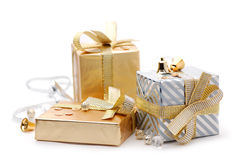 Gift boxes. On a white background Royalty Free Stock Photos