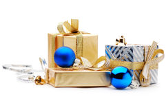 Gift boxes. On a white background Royalty Free Stock Photo