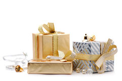 Gift boxes. On a white background Stock Image
