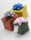 Gift boxes. With ribbons and labels of different sizes Royalty Free Stock Photography