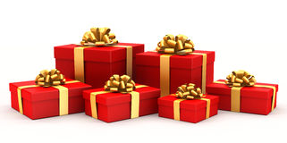 Gift boxes. 3D illustration of bright gift boxes isolated on white Royalty Free Stock Images