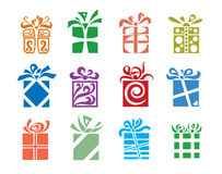 Gift boxes. Set of twelve gift boxes Stock Image