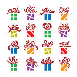 Gift boxes. Set of sixteen gift boxes Stock Image