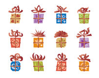 Gift boxes. Set of twelve gift boxes Stock Images