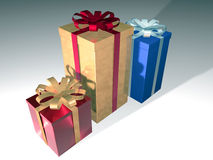 Gift boxes. Three shiny computer generated gift boxes over white Royalty Free Stock Photo