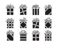 Gift boxes. Set of twelve gift boxes Royalty Free Stock Photos