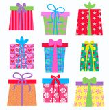 Gift boxes. In different colours and pattern Stock Photos