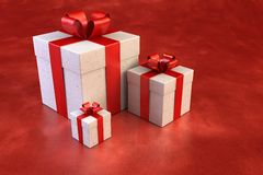 Gift boxes. 3d rendring of the gifts' boxes vector illustration