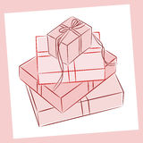 Gift boxes. Four gift boxes on white background Stock Images