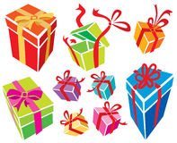Gift Boxes. 9 gift boxes. Vector illustration, without gradients, great for printing, easy to handle vector illustration