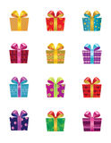 Gift boxes. Set of twelve colorful gift boxes Stock Photos