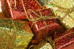 Gift boxes. Close up of metallic shining gift boxes stock images