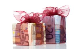 Gift boxes of 20 and 50 euro. Money gift boxes isolated on a white background Royalty Free Stock Images