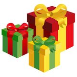 Gift boxes. Illustration of three gift boxes with different colours on the white background Royalty Free Stock Photo