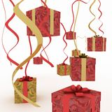 Gift boxes. Festive gift boxes hang on a serpentine Stock Photos