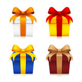 Gift Boxes. Vector illustration of 4 different full color gift boxes with ribbon Royalty Free Stock Image