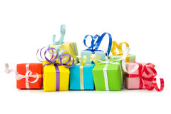 Gift boxes. Multi color gift boxes with ribbon isolated on white background Royalty Free Stock Photography
