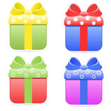 Gift boxes. Colorful icons of gift boxes stock illustration